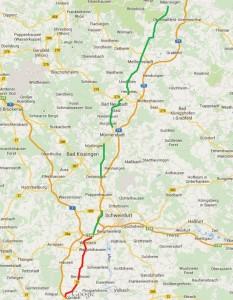 Plan alte B19 parallel zu A71 mit herabgest Strecken
