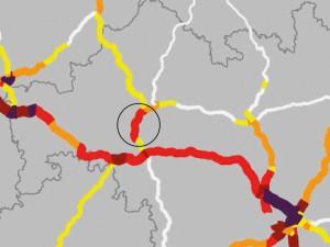 Verkehrsmengenkarte 2015 BAB Auszug A7